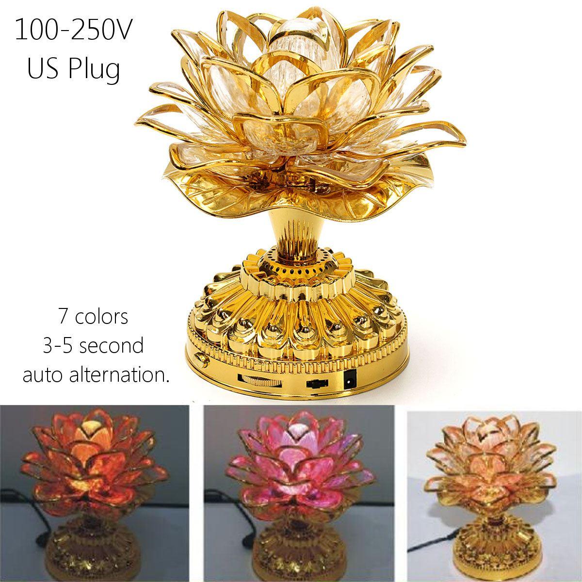 Colorful LED Lotus Buddhist Lamp Built 36 Buddhist Songs With US Plug  110-250 V  Buddha Lotus Light Buddhist Supplies