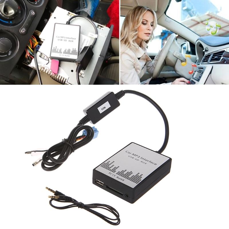 USB SD AUX voiture MP3 Interface de musique lecteur de voiture adaptateur CD changement de Machine pour Peugeot 106 206 RD3 citroën C3 C4 C5 8PIN qyh