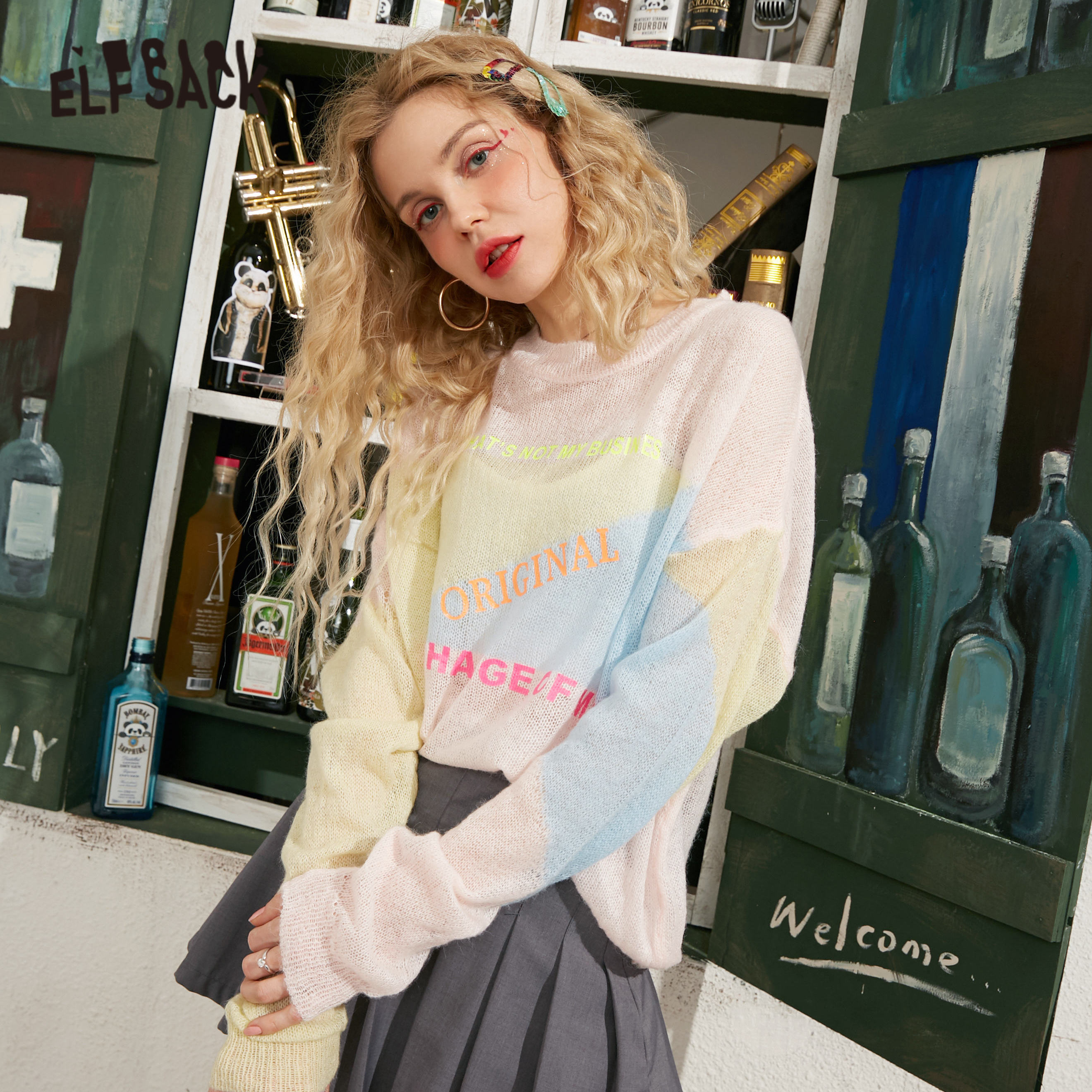 ELFSACK Icecream Letter Print Knitted Casual Pullover Women Sweater 2020 Summer ELF Pink Colorblock See-Through Korean Girly Top