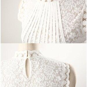 Image 5 - Kadın ofis bayan dantel bluz yaz sonbahar kolsuz beyaz bluz Femme standı yaka iş elbisesi Blusas Tops Verano Mujer 2020
