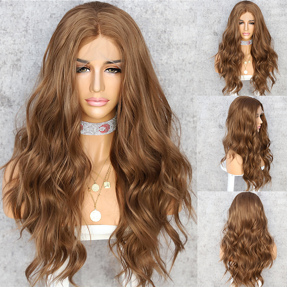 Lvcheryl Synthetic Lace Front Wigs For Women Natural Wave Brown Hair Wigs Wedding Hair Heat Resistant Hand Tied Hair Wigs