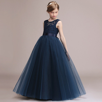 Birthday Party Dress For Kids Girl Navy Lace Tulle Elegant Formal Communion Princess Gowns Flower Girl Dresses For Wedding princess birthday costumes party flower girl dresses for wedding party elegant princess girl formal dress first communion dress