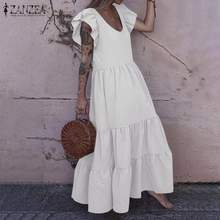 Mulher borboleta manga sólida festa sundress 2021 zanzea férias verão longo maxi vestido à moda babados vestidos kaftan plus size
