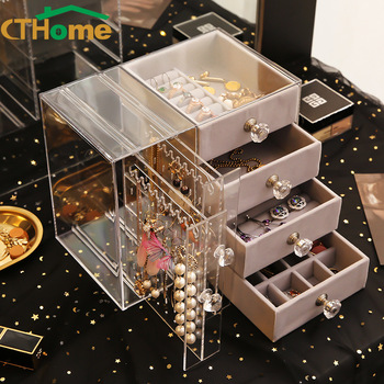 CTHome Drawer Type Plastic Jewelry Storage Box Transparent Finishing Makeup Organizer Earrings Display Stand Rack Bracelet drawer makeup organizer cosmetics storage box organizador maquillaje transparent plastic box lipstick jewelry display stand