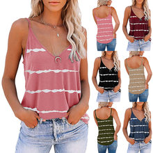 2021 Summer 6 Color 6 Size New Women's Sexy Sleeveless Camisole V-neck Stripe Printed T-shirt Women's Top