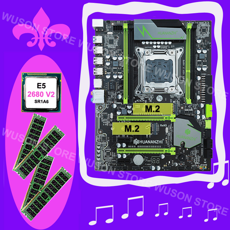 Discount motherboard HUANAN ZHI X79 motherboard with M.2 slot CPU Xeon E5 <font><b>2680</b></font> <font><b>V2</b></font> 2.8GHz SR1A6 RAM 64G(4*16G) DDR3 1600MHz RECC image