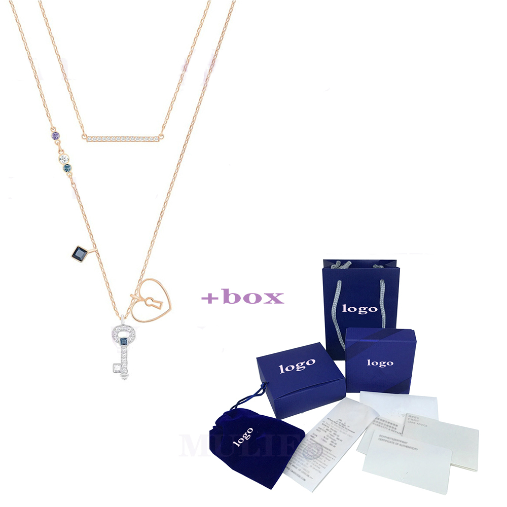 New Shiny Key Two Necklace Gifts For Lovers Wedding Anniversary Women Jewelry Choker