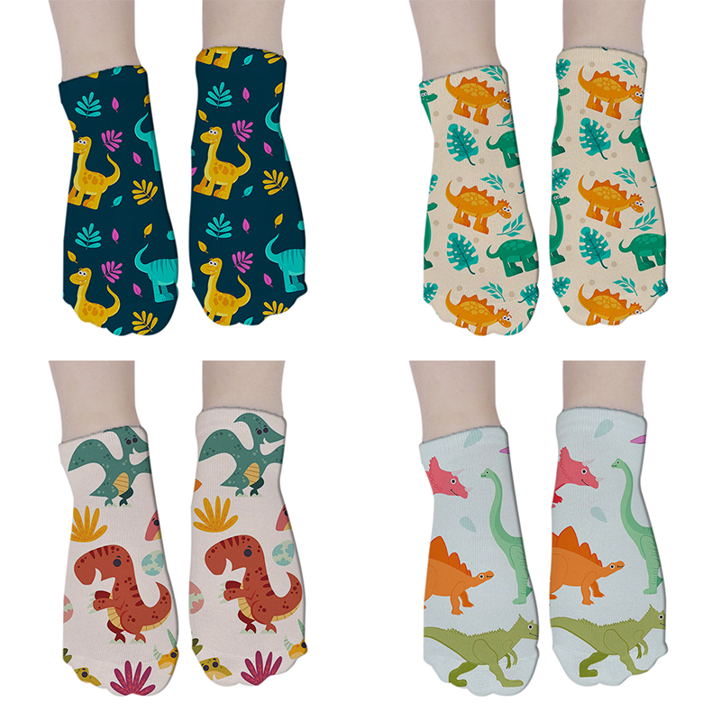 Women's Funny Animal Cute 3D Print Dinosaur Socks Women Ankle Socks Unisex Socks Women Fashion Sox Cartoon Cat Female 8S-DW116