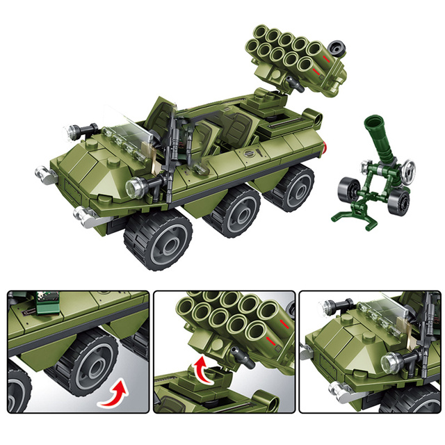 Military City Drone Launch Vehicle Building Blocks for Technic WW2 Car Fighter Truck Airplane Figures Bricks Kids Toys