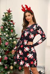Winter Christmas Dresses Women Print Cartoon Dress Long Sleeve Casual Plus Size Midi Party Dresses Vestidos Robe 4
