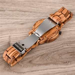 Image 5 - DODO Reloj de madera con indicador de fecha para hombre, reloj masculino de madera, con caja de regalo
