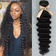 Ребекка 30 32 34 36 38 40 в перуанском Deep Wave Bundles Deal 1% 2F3% 2F4 Bundles 100% 25 Remy Human Hair Extensions Peruvian Hair Связки