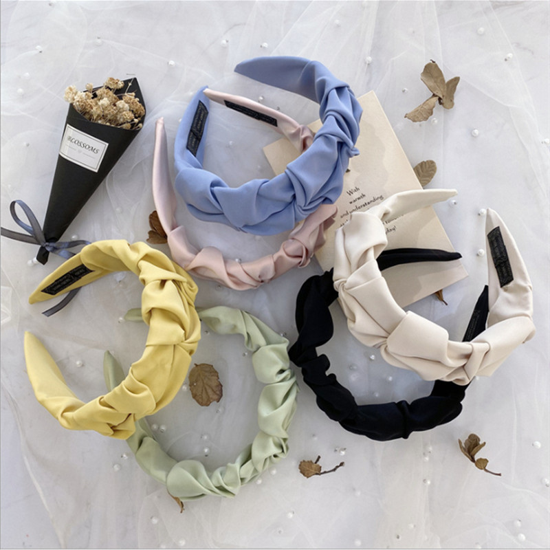 Fashion hair accessories wrinkled headband women candy solid color wide brim knotted face wash hairband headbands girl hair band|Women
