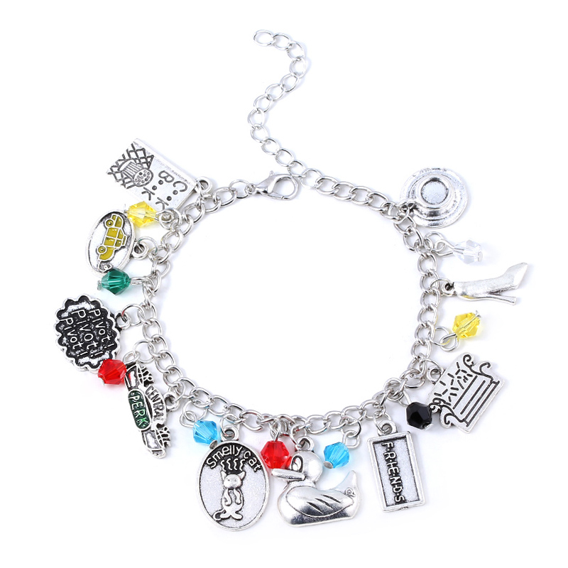 TV Show Friends Central Park Coffee Time Bracelet Smelly Cat Duck Sofa Charms Bracelets Bangles for Women Men Jewelry Gift image