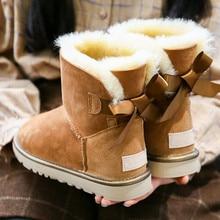 Free shipping fashion women classic basic australia boots sheepskin genuine leather winter non-slip rubber shoes