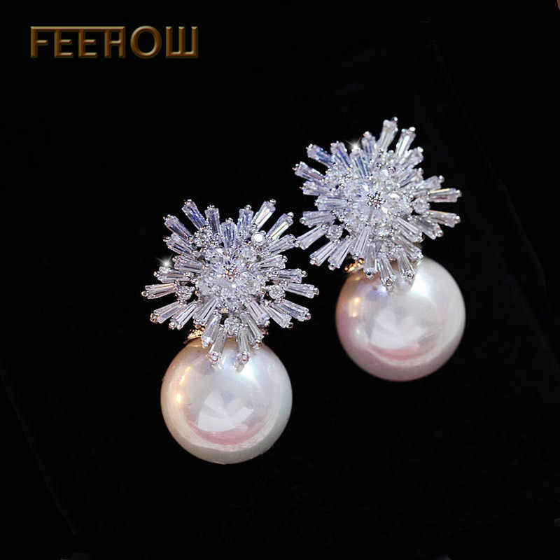 FEEHOW Fashion Wedding Boucle D'oreille Jewelry Elegant Zircon Crystal Flower Pearl Earrings For Women Bridesmaid Gift FWEP075
