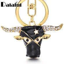 Llaveros – porte-clés en forme de tête de vache, créatif, en cristal de vache, breloque étoile, pendentif, cadeau en strass, K402