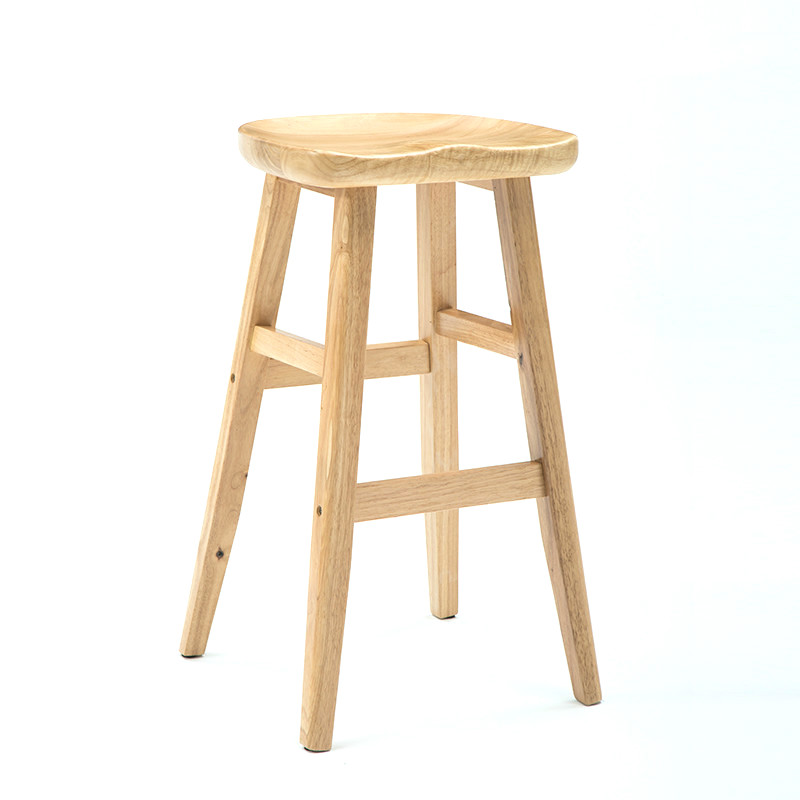 Nordic Bar Stool High  Chair Home Solid Wood   Modern Minimalist Creative Front Desk