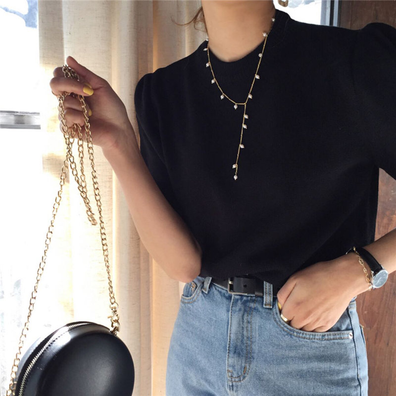 HziriP Black Solid Princess Vintage Short Sleeves Jumpers Chic 2020 Women All Match Retro Slim Pullovers Knitted Gentle Sweaters