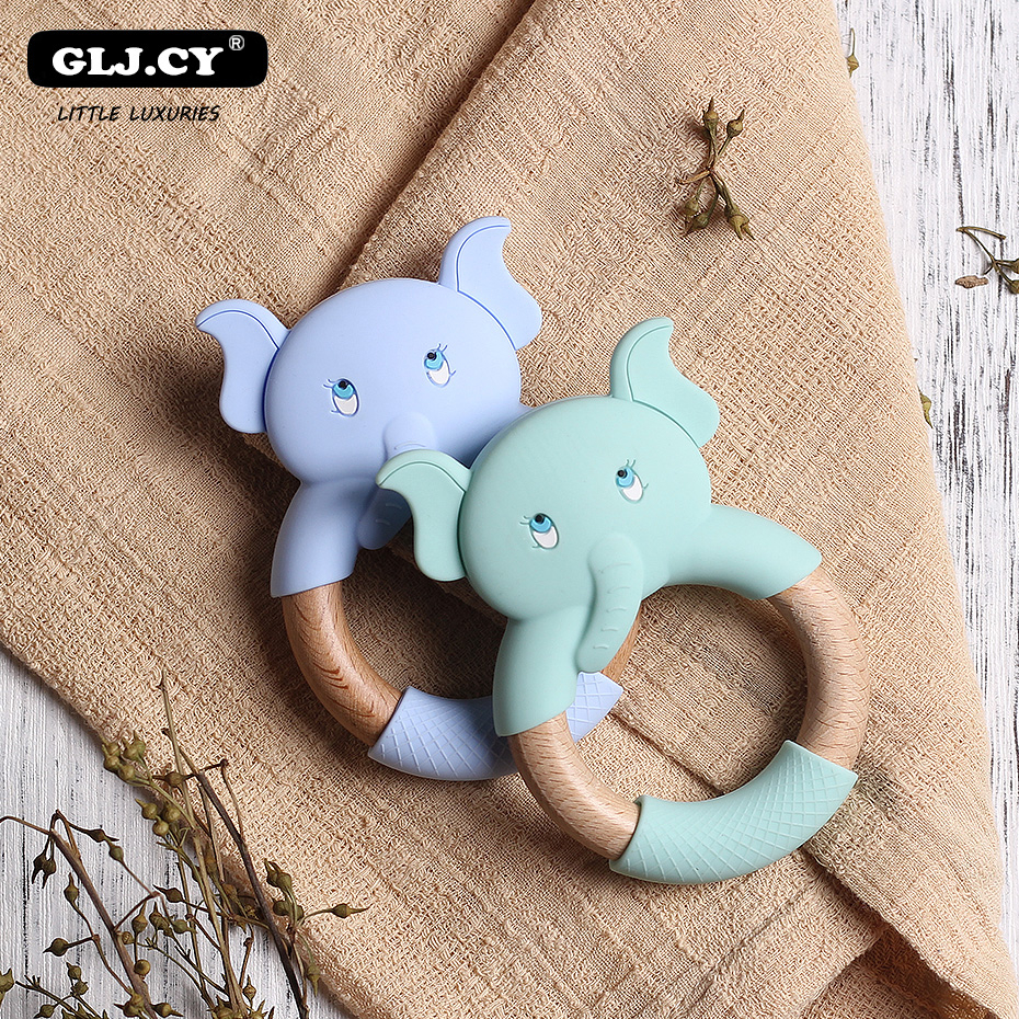 Silicone Teethers Cartoon Beech Wood Elephant Sheep Teething Wooden Ring DIY Baby Rattles Tiny Rod Christmas Gift Baby Teethers