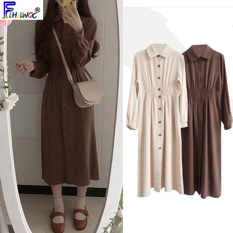 Vintage Dresses Long Autumn Winter Basic Wear Women Slim Waist A Line Beige Brown Button Shirt Dress Korea Style Design 8025