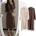 Винтажное длинное платье осень-зима, базовая одежда для женщин, приталенная трапециевидная рубашка бежевого и коричневого цвета, платье на ...