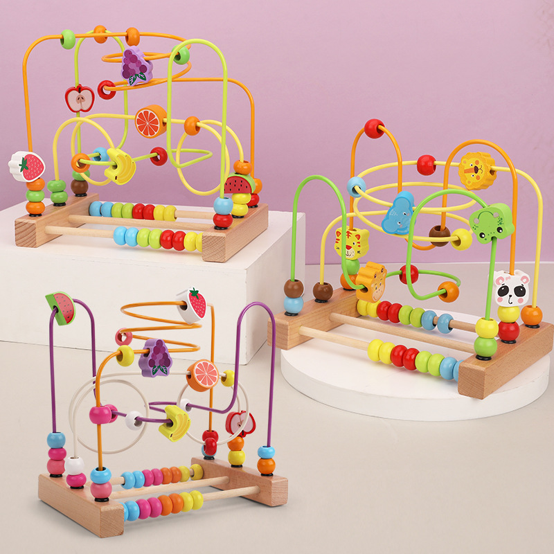 Crianças brinquedos montessori brinquedos de madeira labirinto círculos em torno de contas ábaco matemática brinquedos enigma aprendizagem precoce brinquedos educativos para crianças