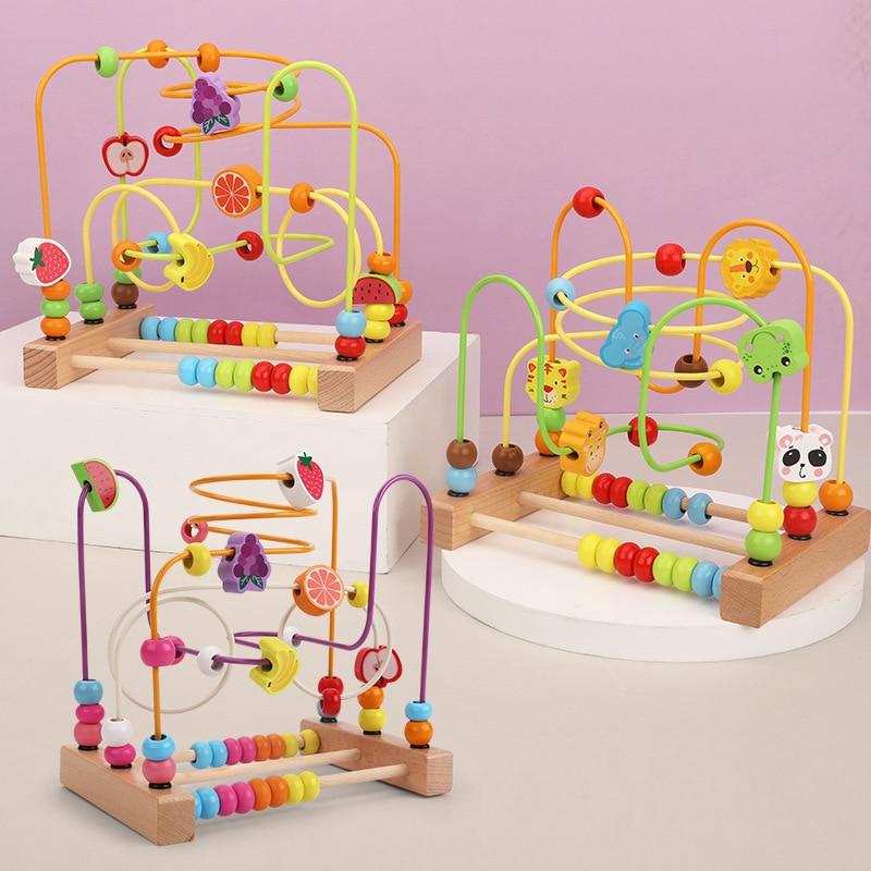 Детские игрушки Монтессори, деревянные игрушки, лабиринт, круги вокруг бусин, Абакус, математические игрушки, пазл для раннего обучения, раз...