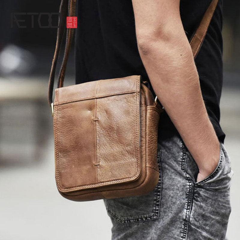 AETOO Scrub top layer leather shoulder bag retro men's bag Europe and the United States trend summer Messenger bag small bag|Crossbody Bags| |  - title=