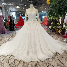 LSS091ราคาถูกเช่นสีขาวO NeckแขนยาวBall Gownดอกไม้มุสลิมชุดแต่งงานใหม่ออกแบบจัดส่งฟรีVestido De Baile