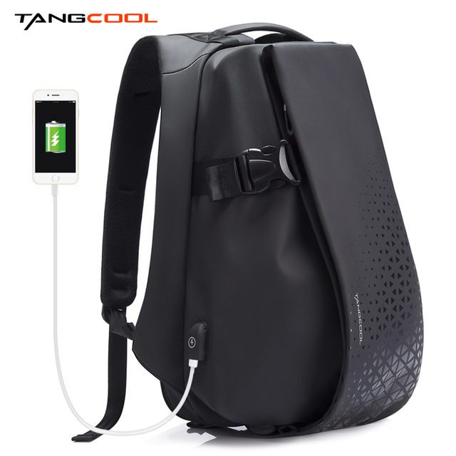 Tangcool Men Fashion Backpack 17.3 Inch Laptop Backpack Waterproof USB recharge Outdoor Backpack Daily School Rucksack