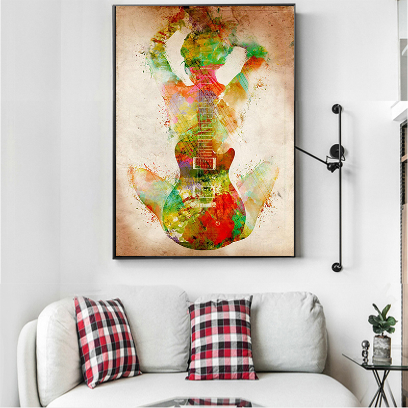 Abstract Figure With Guitar Painting
