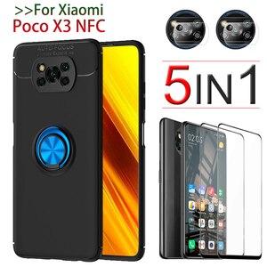 Image 1 - Poco X3 NFC カバー、保護ガラス + ケースでリング Xiaomi Poco X 3 Poco X3 Pro ケーススクリーンプロテクター Xiaomi Poco X3 ケース Poco X3 Case + Glass