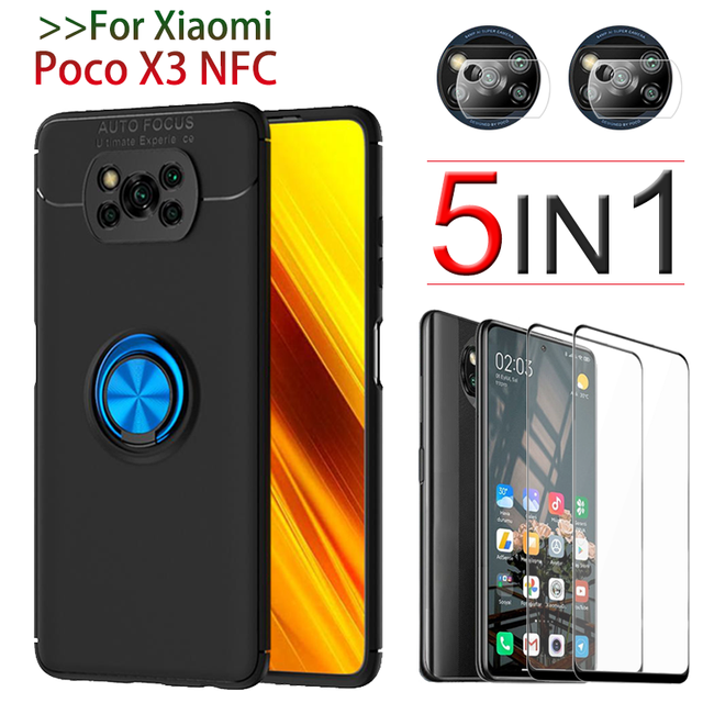 Poco X3 NFC カバー、保護ガラス + ケースでリング Xiaomi Poco X 3 Poco X3 Pro ケーススクリーンプロテクター Xiaomi Poco X3 ケース Poco X3 Case + Glass