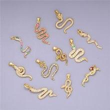 Juya – pendentifs pour la fabrication de bijoux, fournitures de bricolage, Micro pavé arc-en-ciel, zircone cubique, or, serpent, breloques, vente en gros