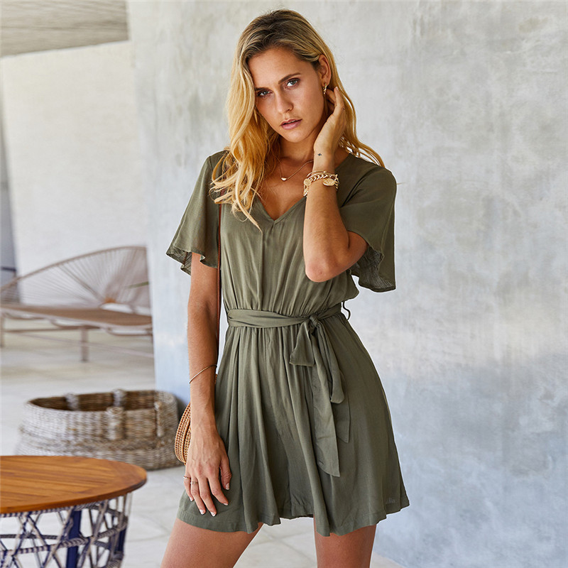 Spring Summer Casual Solid Jumpsuits Women V Neck Lace Up Short Sleeve New Fashion Ladies Cotton Slim Short Playsuits Female