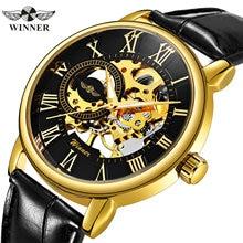 O vencedor oficial na moda dos homens relógios de luxo da marca superior esqueleto relógio mecânico cinta de couro dos homens moda casual relógio de pulso vestido