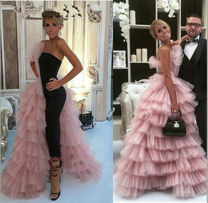 Image 2 - Elegant Black Straight Dubai Prom Dresses 2020 Pink Tulle Long Arabic Evening Gowns Tiered Ruffle Formal Women Formal Party Gown