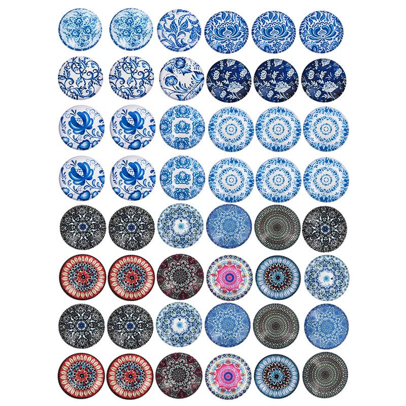 Mix Blue And White Porcelain Glass Cabochons Mandala Flower Cabochon Round 8/12/20/25mm Cameo Dome Flat Back DIY Jewelry Making