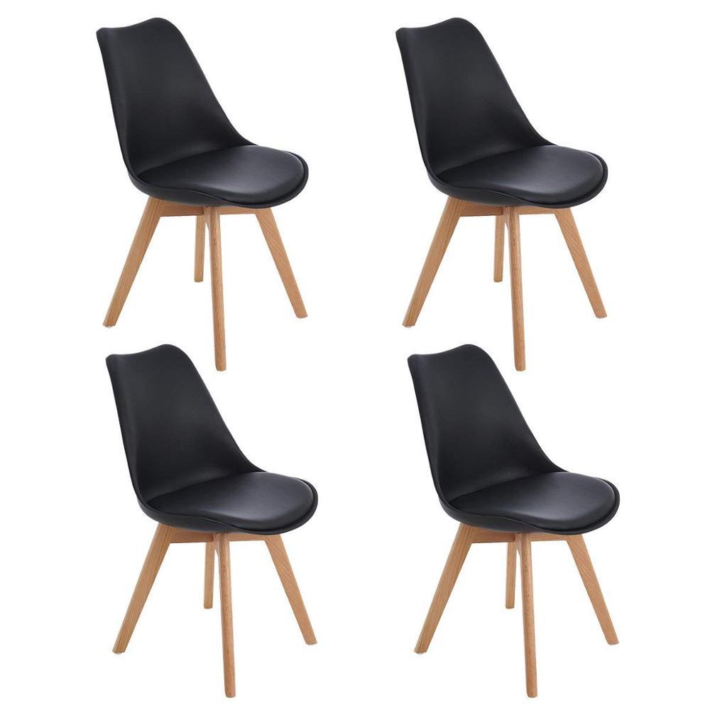 EGGREE lot de 4 pièces chaise de salle à manger rembourrée tulipe avec pieds en bois de chêne pour salle à manger et chambre à coucher-noir-2-8days EU depot
