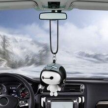 Auto Anhänger Niedlichen Helm Baymax Roboter Puppe Hängen Ornamente Autos Rückspiegel Suspension Dekoration Zubehör Geschenke