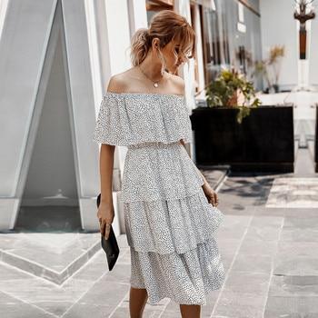 цена на Cascading Ruffle Dot Summer Off The Shoulder Dress Women Cotton Office Lady  High Wasit Knee-length Dress 2020 New