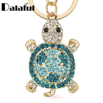 Dalaful Novelty Crystal Rhinestone Tortoise Keyrings Key Chains Holder For Car Purse Bag Pendant Buckle Fashion Keychains K233