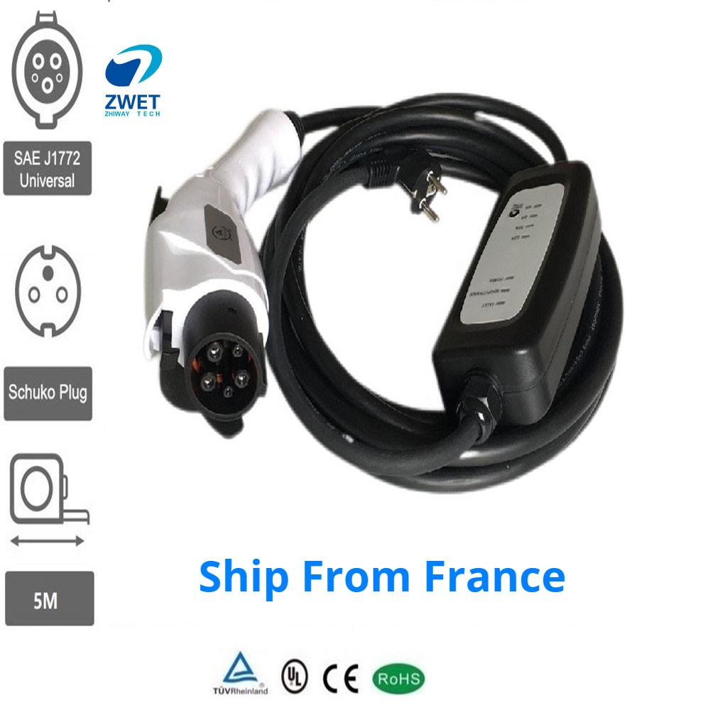 ZWET Electric Car Charger Portable J1772 Type1 Plug Level 2 6A 8A 10A 12A With EU Wall Socket Input