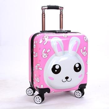 "18""Cartoon Kids Travel Luggage ABS Rabbit Outdoor Suitcase чемодан чемоданы maletas de viaje 캐리어 Trolley Bag"