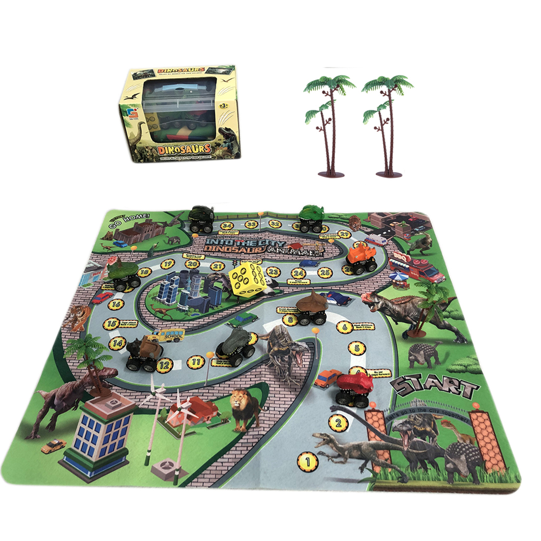 Dinosaur Car City Game Rug Dinosaur Figures with Activity Play Mat Discover <font><b>Treasure</b></font> Game <font><b>Toys</b></font> Baby & Toddler <font><b>Toys</b></font> Play Mats image