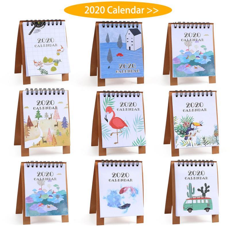 2020 Hand Drawing Fresh Cartoon Mini Flamingo Desktop Paper Calendar Dual Daily Scheduler Table Planner Yearly Agenda Organizer