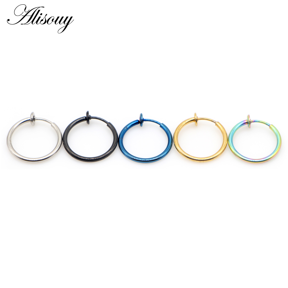 Alisouy 1pc 14G Blue Black Fake Nose Ring Goth Punk Lip Ear Nose Clip On Fake Piercing Nose Lip Hoop Rings Earrings body jewelry