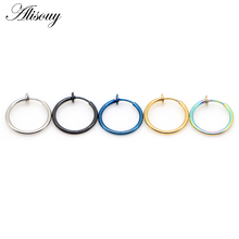 Alisouy 1pc 14G Blue Black Fake Nose Ring Goth Punk Lip Ear Nose Clip