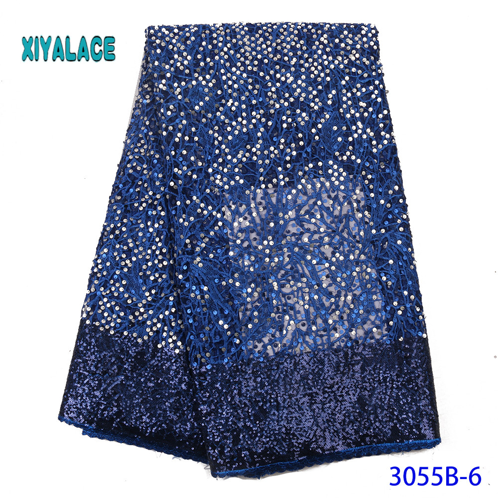 African Lace Fabric With Latest Color 2019 High Quality French Tulle Lace Sequins Lace Fabric For Woman Dresses YA3055B-6